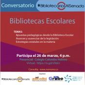 Conversatorio sobre bibliotecas escolares organizado por #BibliotecariosAlSenado